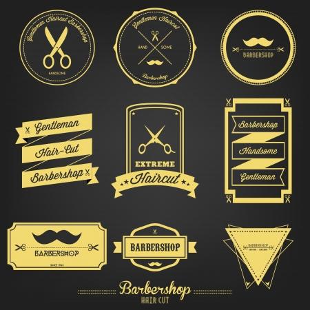peluquerias: Prima Barbershop Label Vintage Vectores