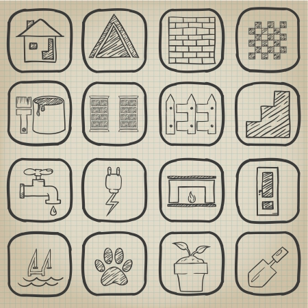 House Icon Doodle Set Vector