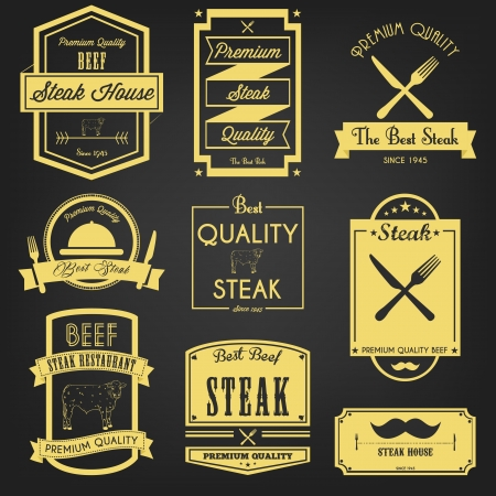 Premium Steak Vintage Label Vector