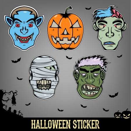 Halloween Sticker Monster Illusztráció