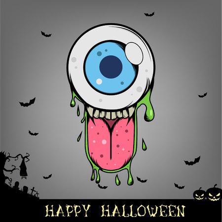 Halloween Eye ball monster Vector