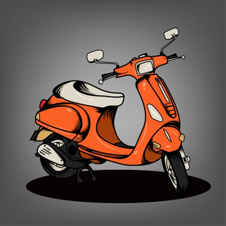 vespa: Orange Scooter