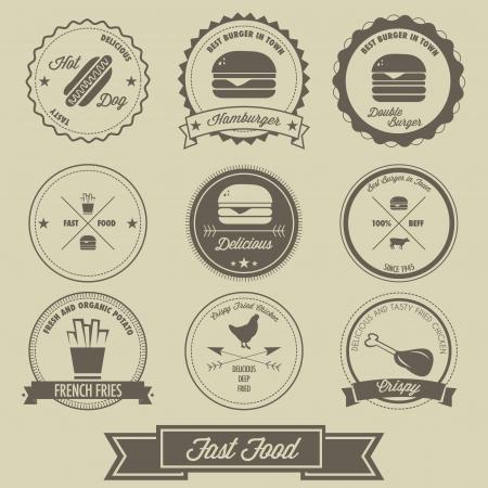 comida americana: Comida r�pida Vintage Label