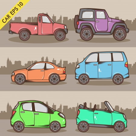 Cartoon Car Set Vector