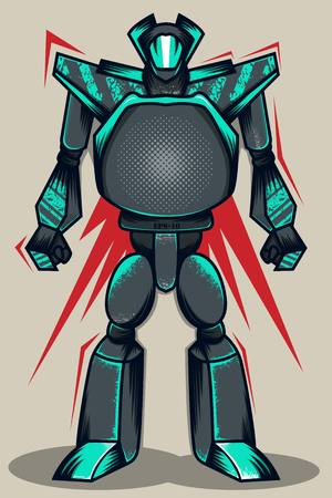 Grey Grunge Robot Illustration