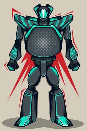 Grey Grunge Robot Illusztráció