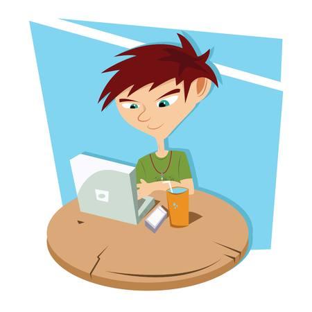 Laptop Boy Vector
