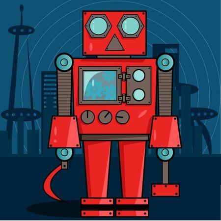 Red Russian Robot Vector