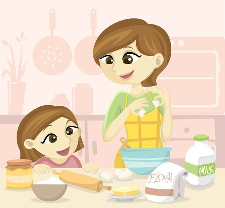 people together: Family Baking Illustration