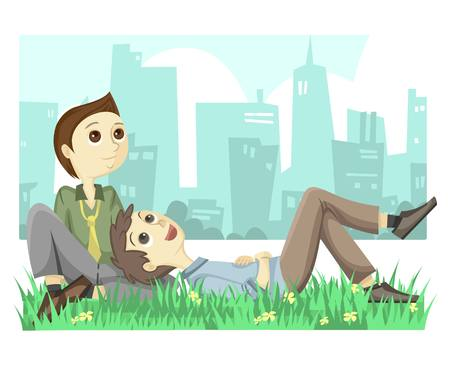 gay marriage: Gay Couple Illustration