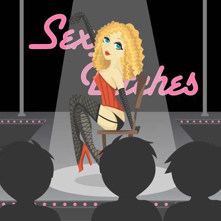 Sexy Blonde Stripper Illustration