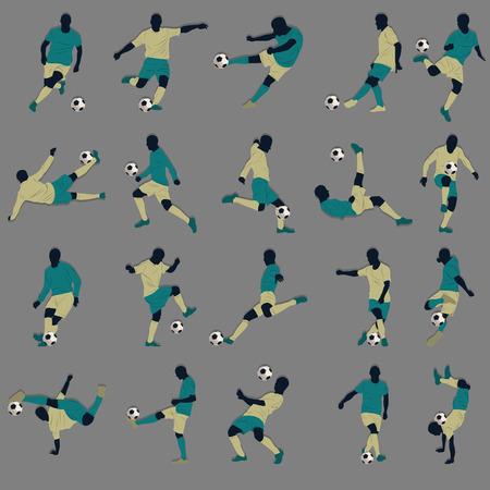 20 Soccer Silhouette Illusztráció