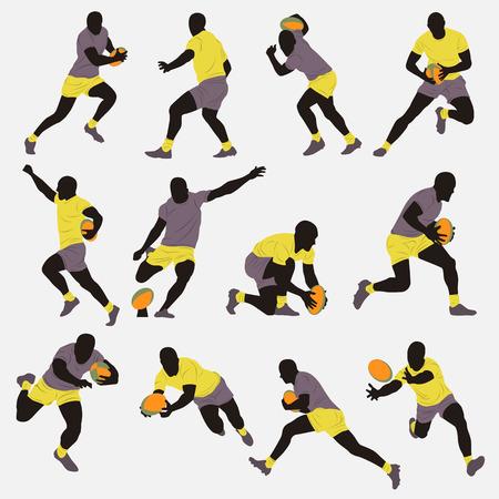 pelotas de futbol: Jugador de rugby Silueta Vectores
