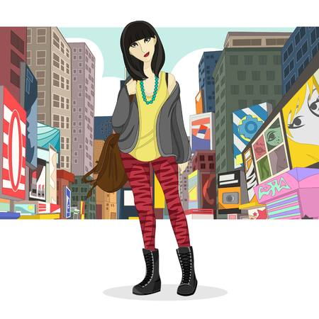Big City Girl Fashion Style Vector