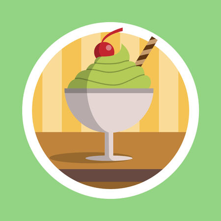 ice tea: Green Tea Ice Cream Dessert Illustration Stock Photo