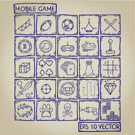 Mobile Game Icon Doodle Set Vector