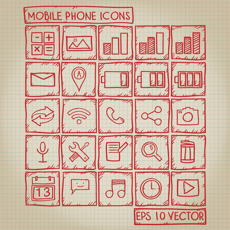 mobile phone icon: Mobile Phone Icon Doodle Set Illustration