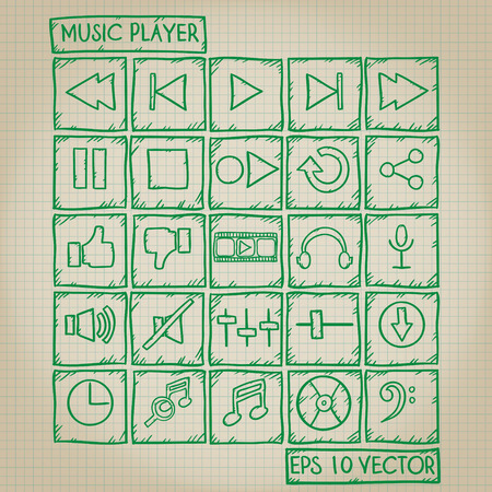 player controls: Music Player Icon Doodle Set