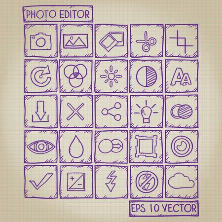 Photo Editor Icon Doodle Set Vector
