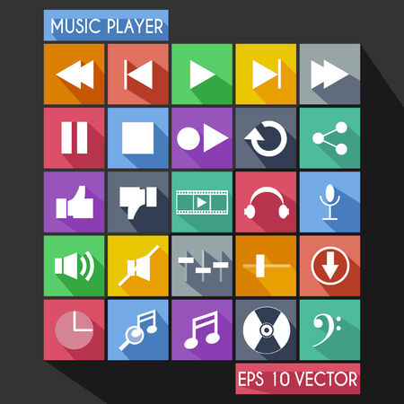 player controls: Music Player Flat Icon Long Shadow Illustration