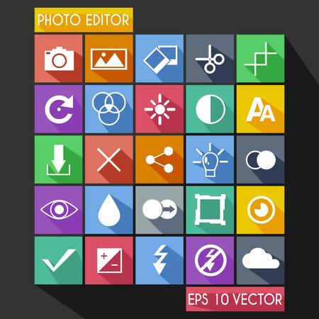 lens brush: Photo Editor Flat Icon Long Shadow Illustration