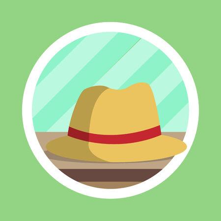 fedora: Brown Fedora Hat Flat Design