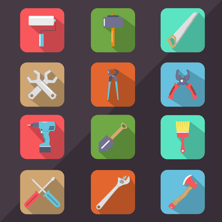 hardware tools: Hardware Tools Flat Icon Long Shadow