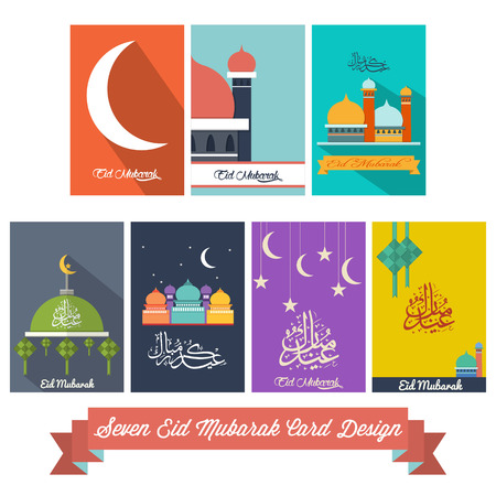 ramadhan: Seven Eid Mubarak Flat Design Card  Illustration