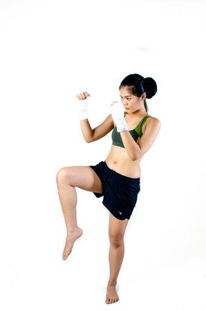 Asiático Femenino de combate Foto de archivo - 28757898