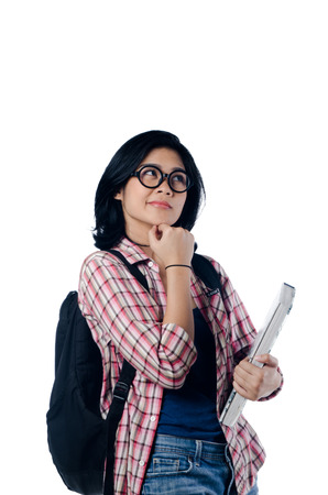 Nerd Asian College Girl Thinking About Something photo