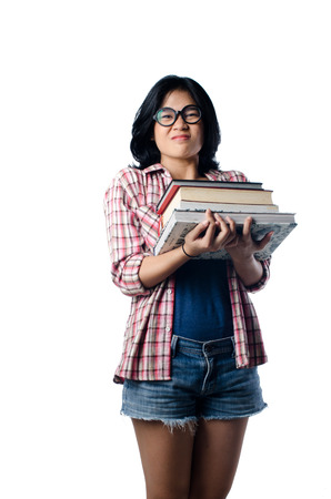 Nerd Asian College Girl With a Pile of Books photo