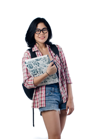 Smart Beauty And Educated College Girl photo