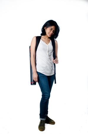 Smart and beauty college girl with blueprint tube carrier photo