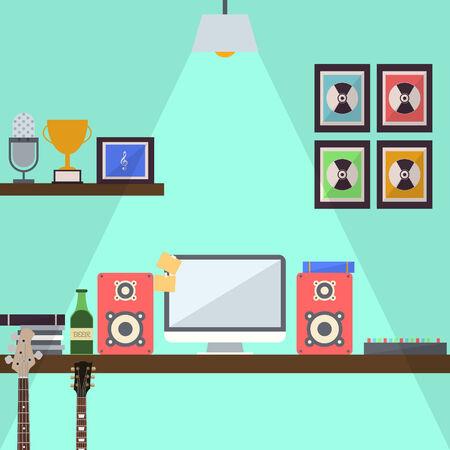 Musician Studio Workstation Flat Design Vector
