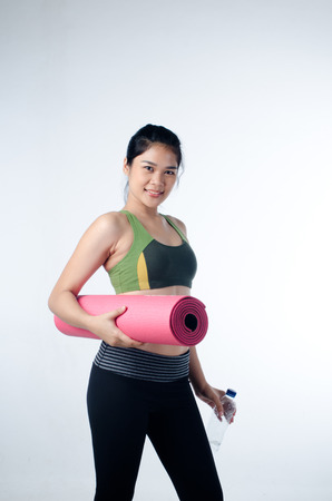 woman in love:  Young and Healthy Woman Love working out Stock Photo