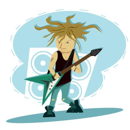 hardcore: Hardcore guitar long hair player