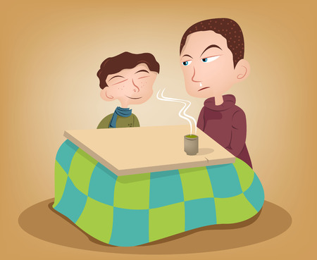 snort: Two brother enjoying the kotatsu with hot green tea