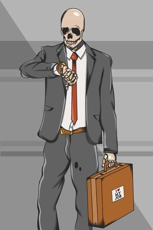 Working class skull employee on suit go to work Vector