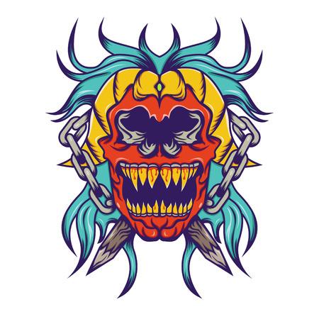 Red skull with blue hair tattoo design illustration illustration