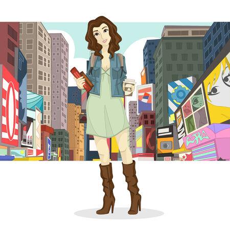 Big City Girl Fashion Style Illustration  Stock Photo