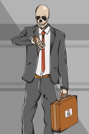 Working class skull employee on suit go to work Illustration illustration