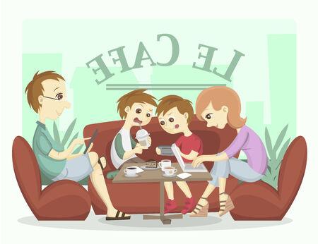 Modern Family Illustration illustration