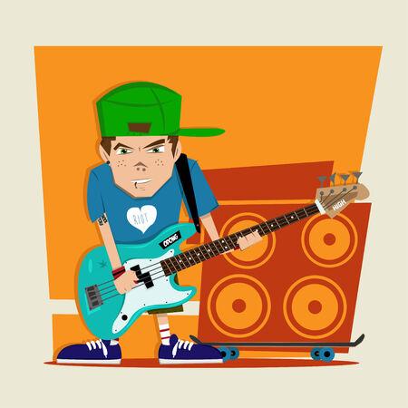 bass player: Punk rock boy bass player Illustration