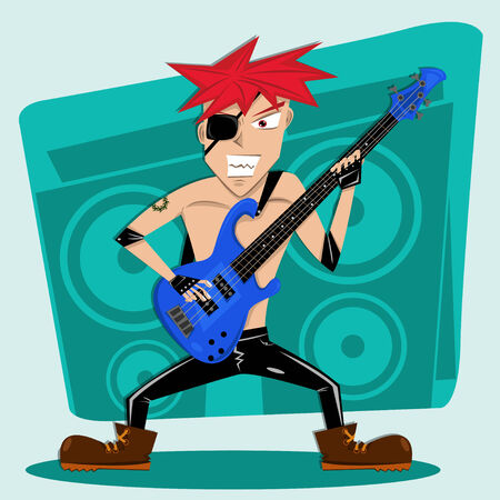 Red Hair rock bass player Illustration