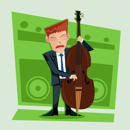contra bass: Smooth and elegant jazz contra bass player Illustration