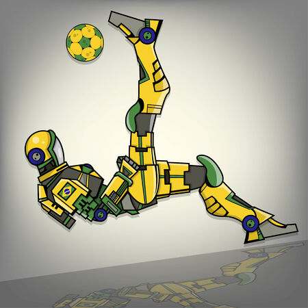 mecha: Brazilian Football Robot Illustration
