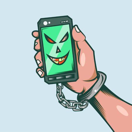 slave: Smart Phone Slave Illustration  Stock Photo