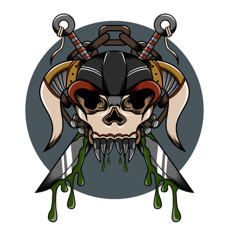 hardcore: Skull demon hardcore illustration with weapon and another detail for tattoo and shirt Illustration