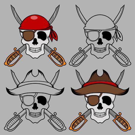 Pirate skull mascot Vector