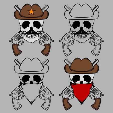Four creative design of cowboy skull mascot Vector
